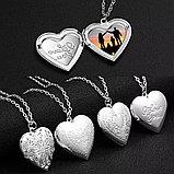 "Медальон на цепочке ""Сердечко классика"" серебрение, фото 2"