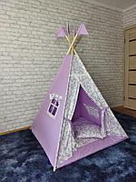 Детская палатка вигвам 4х гранный Милые Единорожки