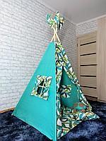 Детская палатка вигвам 4х гранный Перья