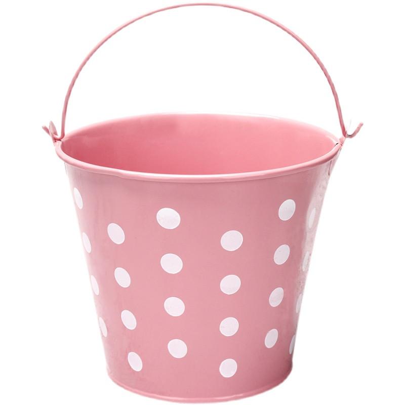 Ведро декоративное металлическое розовое в горошек - фото 2