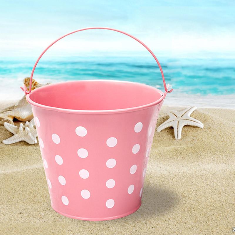 Ведро декоративное металлическое розовое в горошек - фото 4
