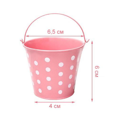 Ведро декоративное металлическое розовое в горошек - фото 1