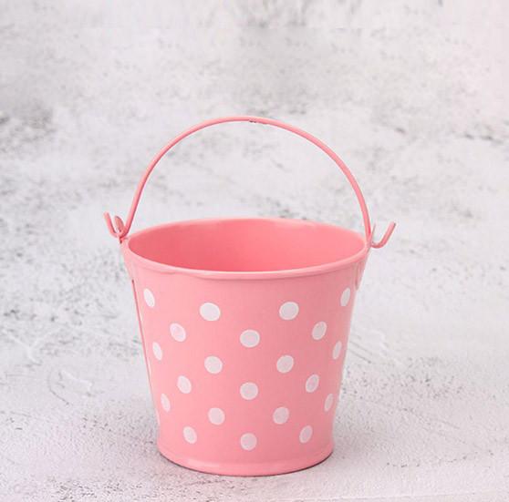 Ведро декоративное металлическое розовое в горошек - фото 5