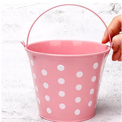 Ведро декоративное металлическое розовое в горошек - фото 7