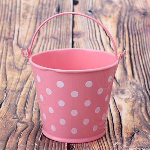 Ведро декоративное металлическое розовое в горошек - фото 8