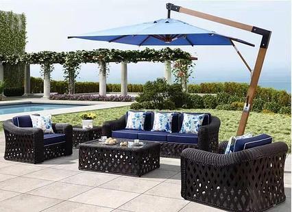 Зонт квадратный ART.Home Wood W-Lux (blue), 3*3м, синий (с 4-мя утяжелителями)