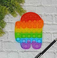 Сенсорная игрушка антистресс с пузырьками радужная пупырка POP IT Амонг Ас