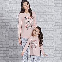 Пижама детская девичья 2 /92 см, Пудровый