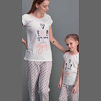 Пижама детская девичья 4/104 см, Кремовый