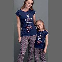Пижама детская девичья 4/104 см, Тёмно-синий