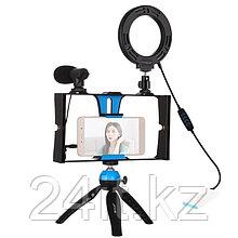 Комплект блогера Puluz PKT3025L 4в1 (кільцеве світло, штативне кріплення, тримач для телефону, мікро