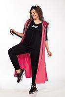 Женский летний трикотажный спортивный большого размера спортивный костюм Lady Secret 2755 черно-малиновый 50р.