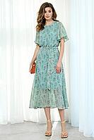 Женское летнее шифоновое зеленое платье AYZE 2039 зеленый 42р.