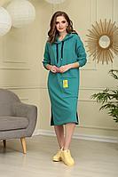 Женское летнее трикотажное зеленое платье Ларс Стиль 617 46р.