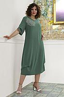 Женское осеннее из вискозы зеленое большого размера платье Avanti Erika 997-6 52р.