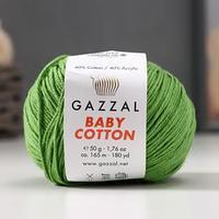 Пряжа 'Baby Cotton' 60 хлопок, 40 полиакрил 165м/50гр (3448 трава) (комплект из 5 шт.)
