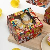 Упаковка на 4 капкейков с окном, 'Сладкий сюрприз', 16 х 16 х 10 см (комплект из 5 шт.)