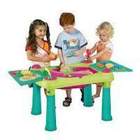 KETER Стол CREATIVE для детского творчества и игры с водой и песком, Зеленый/Фиолетовый(79x56x50h)
