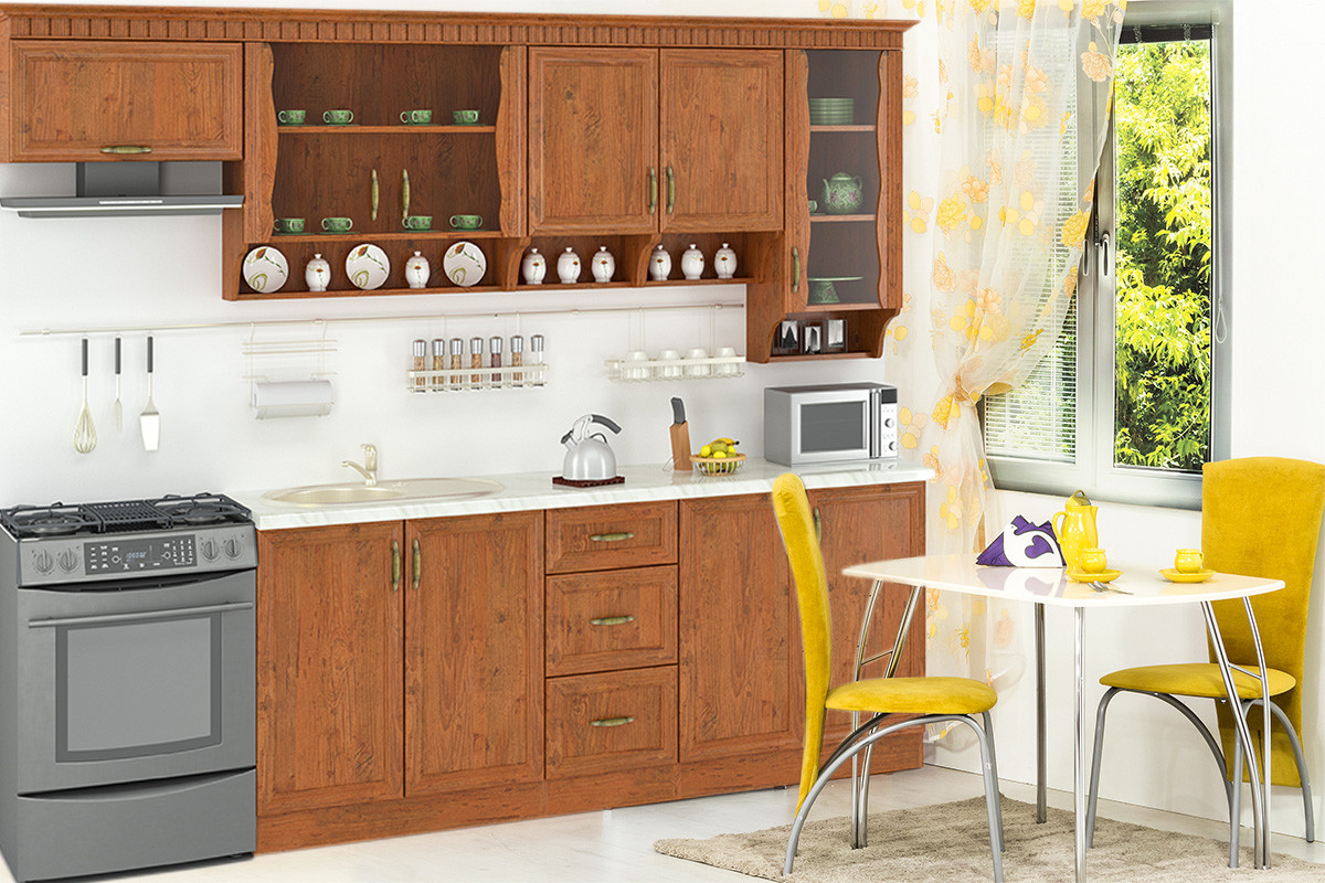 Комплект мебели для кухни Каролина 2000, Дуб Старый, MEBEL SERVICE(Украина)