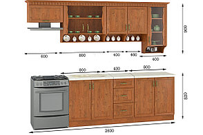 Комплект мебели для кухни Каролина 2000, Дуб Старый, MEBEL SERVICE(Украина), фото 2