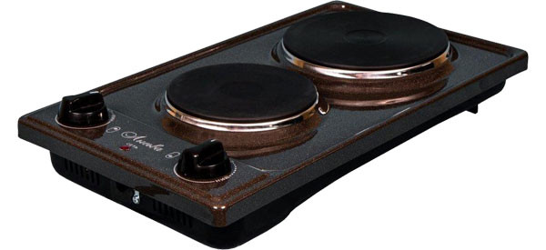 Плитка электрическая Лысьва ЭПБ 22 коричневый/рябчик