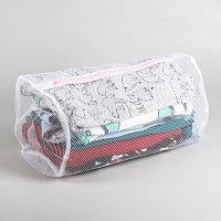 Мешок для стирки Доляна, 22х33х19 см, крупная сетка, цвет белый