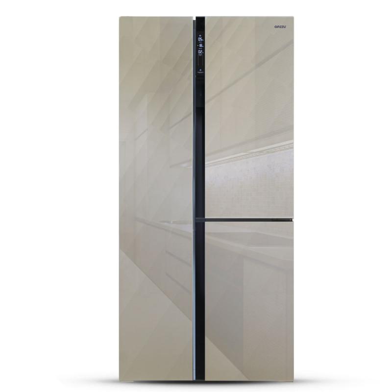 Холодильник Side by Side Ginzzu NFK-475, SbS шампань
