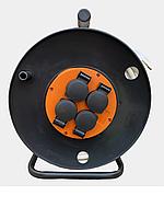 Удлинитель силовой на катушке, ПВС 3 х 2,5 мм, 50 м, 4 розетки,