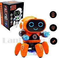 Игрушка робот на батарейках музыкальный танцующий со светомузыкой ZR142-1 оранжевый
