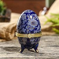 Шкатулка «Цветы» в виде яйцо-фаберже (7,5 см)