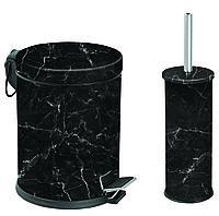 Набор урна для мусора с педалью 5л и ерш для туалета мрамор черный Турция