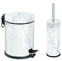 Набор урна для мусора с педалью 5л и ерш для туалета мрамор белый Турция