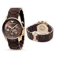 Часы наручные Emporio Armani Sportivo AR5905 с календарем [HQ реплика] (Коричневый)