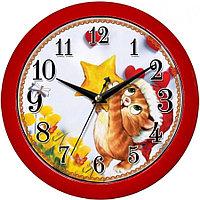 """Часы настенные ход плавный Камелия """" Котик"""" круглые 29*29*3,5 красная рамка"""