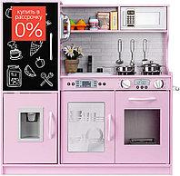 Деревянная детская кухня с аксессуарами, полками и шкафчиками размером 80x30x81см