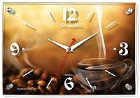 """Часы настенные стеклянные ход плавный Камелия """" Кофе"""" прямоугольные 24*35*3,5 коричневый"""