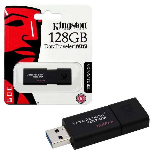 USB Флеш 128GB 3.0 Kingston DT100G3/128GB черный