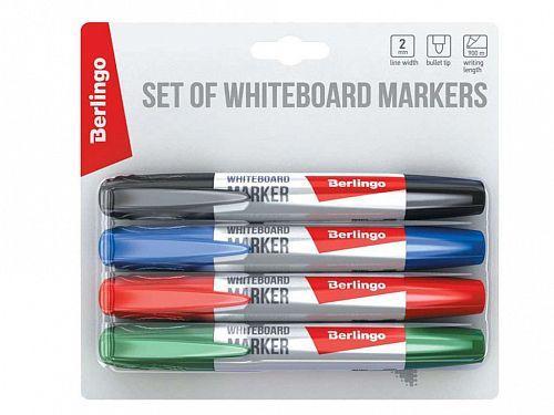 Набор маркеров для доски BERLINGO, 4 цвета в блистере