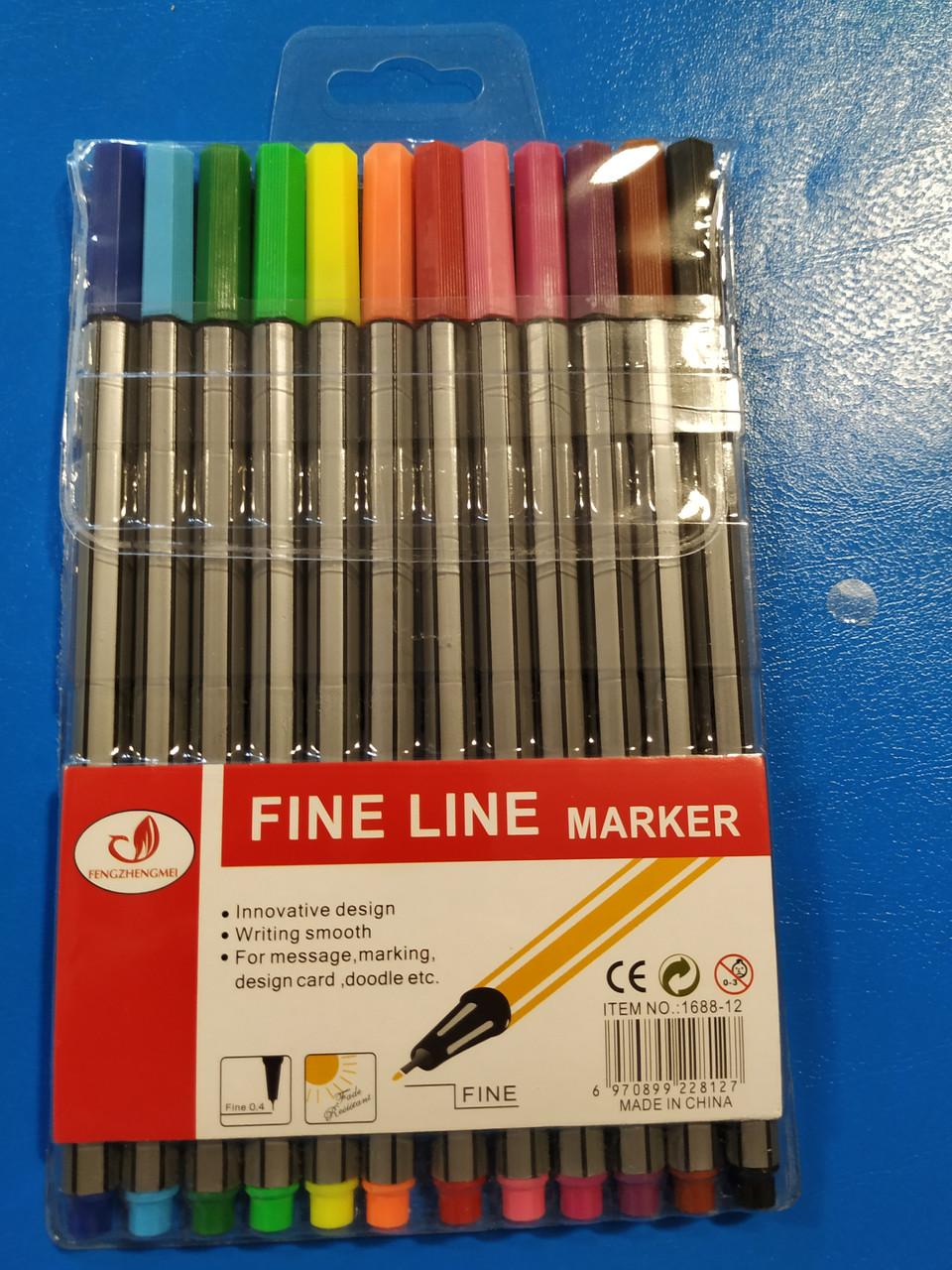 Набор капиллярных ручек Fine Line marker 12 цветов