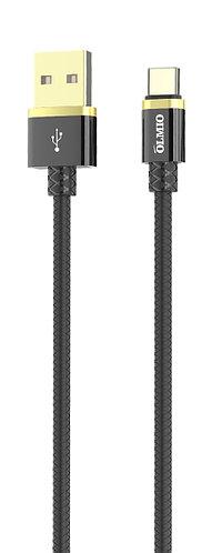 Кабель OLMIO DELUXE, USB 2.0 - Type-C, 1м, 2.1A, черный