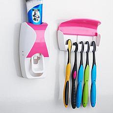 Дозатор для зубной пасты с держателем для щеток, цвет розовый + белый Ликвидация склада!, фото 3