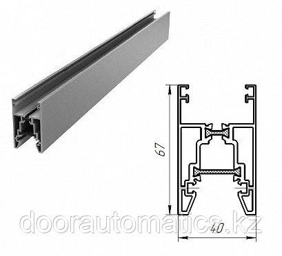 Нижний алюминиевый профиль с терморазрывом (металлик глянцевый)