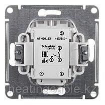 Atlas Design выключатель 2- клавишный c подсветкой МЕХАНИЗМ, скрытая установка белый, фото 3