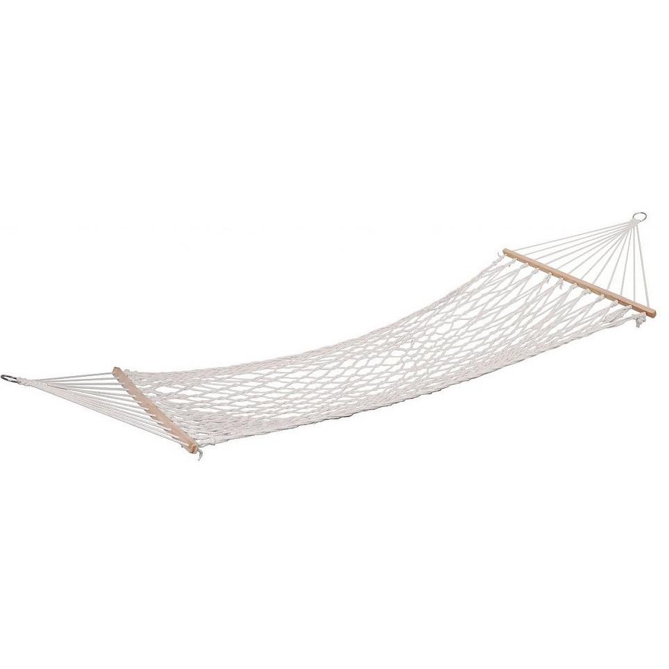 Гамак подвесной веревочный плетеный складной с деревянными планками 200х80 см бежевый - фото 5