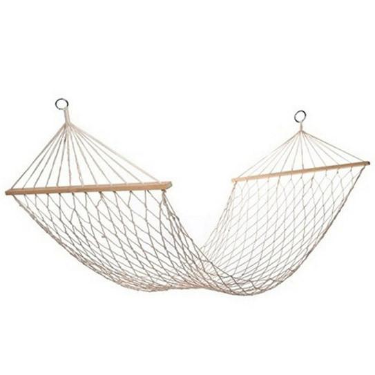 Гамак подвесной веревочный плетеный складной с деревянными планками 200х80 см бежевый - фото 4
