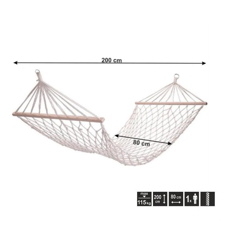 Гамак подвесной веревочный плетеный складной с деревянными планками 200х80 см бежевый - фото 2