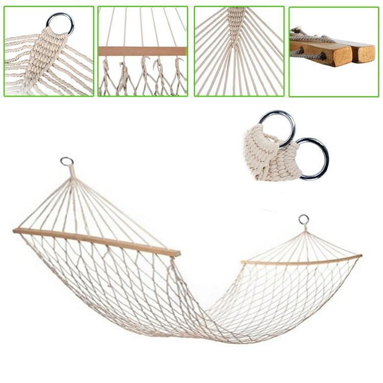 Гамак подвесной веревочный плетеный складной с деревянными планками 200х80 см бежевый - фото 1