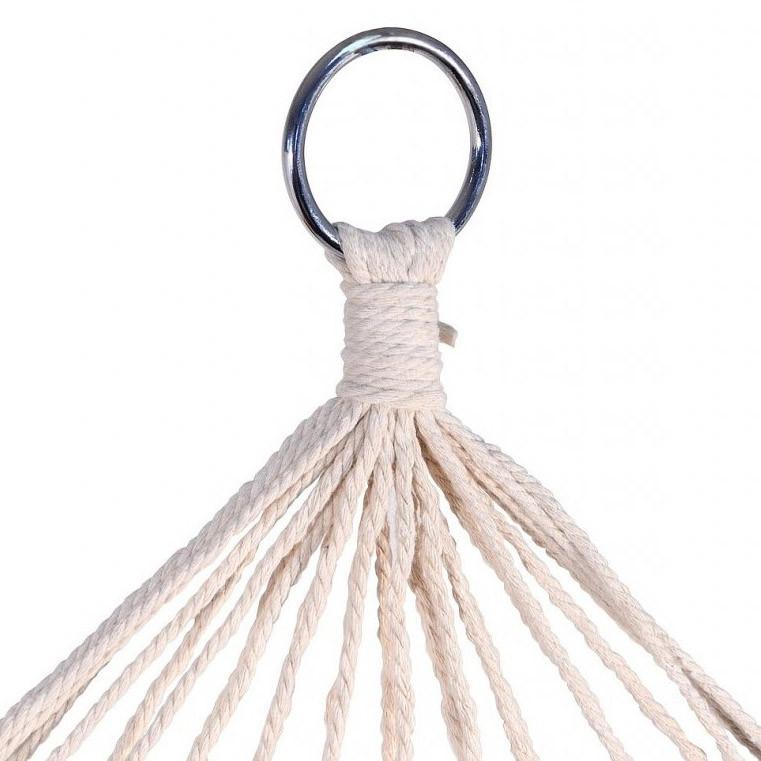 Гамак подвесной веревочный плетеный складной с деревянными планками 200х80 см бежевый - фото 3