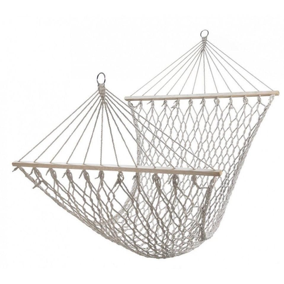 Гамак подвесной веревочный плетеный складной с деревянными планками 200х80 см бежевый - фото 6