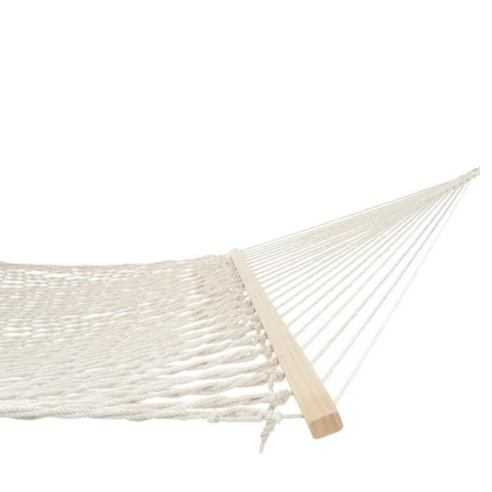Гамак подвесной веревочный плетеный складной с деревянными планками 200х80 см бежевый - фото 7